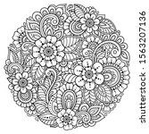 Outline Round Flower Pattern In ...