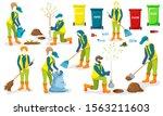 volunteer team of young people... | Shutterstock . vector #1563211603