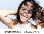 Close-up portrait of a fashion young woman - stock photo