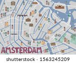 guide to amsterdam. illustrated ... | Shutterstock .eps vector #1563245209