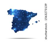vector map of spain with... | Shutterstock .eps vector #1563273139