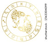 zodiac sign pisces and circle... | Shutterstock .eps vector #1563304099