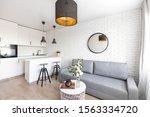 Small photo of Warsaw, Masovian/ Poland - 18 November 2019 Modern Studio apartament, condo with white brick wall, kitchen annex and gray couch.