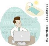 working man in office. workflow ... | Shutterstock .eps vector #1563355993
