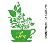 cute tea time card. cup with... | Shutterstock . vector #156336698