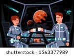 astronauts in the cockpit of... | Shutterstock .eps vector #1563377989