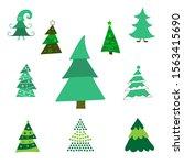 set different abstract green...   Shutterstock .eps vector #1563415690