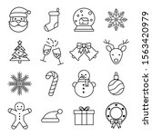 christmas black line icons. set ... | Shutterstock .eps vector #1563420979
