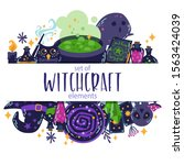 set of witch magic elements. ... | Shutterstock .eps vector #1563424039