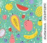 vector tropical fruit... | Shutterstock .eps vector #1563491893