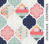 seamless pattern with patchwork ...   Shutterstock .eps vector #1563498826