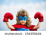 superhero kid wearing boxing... | Shutterstock . vector #156350636