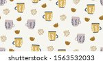 vintage seamless pattern with... | Shutterstock .eps vector #1563532033