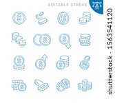 coins related icons. editable... | Shutterstock .eps vector #1563541120