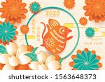 happy chinese new year 2020...   Shutterstock .eps vector #1563648373