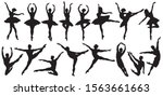 set of ballerinas silhouettes.  ... | Shutterstock .eps vector #1563661663
