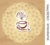 coffee label over circle... | Shutterstock .eps vector #156367994