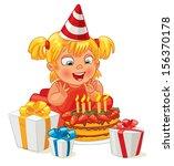 little girl having fun... | Shutterstock .eps vector #156370178