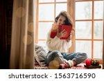 Brunette Woman In Warm Sweater...