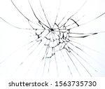 Broken Glass On Window Isolated ...