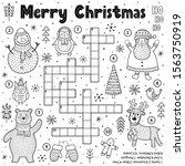 merry christmas crossword game... | Shutterstock .eps vector #1563750919
