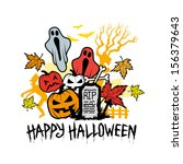 halloween character icons and... | Shutterstock .eps vector #156379643