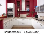 modern kitchen interior with... | Shutterstock . vector #156380354