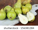 pears on cutting board  on... | Shutterstock . vector #156381284