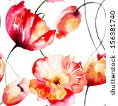 Seamless Pattern With Tulips...