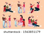 set of icons family in... | Shutterstock .eps vector #1563851179