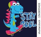 cartoon cute monster dinosaur ... | Shutterstock .eps vector #1563855433