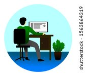 work using a computer in the... | Shutterstock .eps vector #1563864319