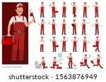 set of plumber man character...   Shutterstock .eps vector #1563876949