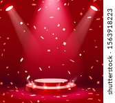 red stage podium with spotlight ... | Shutterstock .eps vector #1563918223