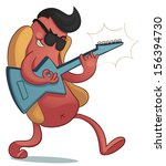 crazy hot dog playing electric... | Shutterstock .eps vector #156394730