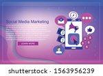 smartphone with social media... | Shutterstock .eps vector #1563956239