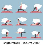 young slim woman practicing... | Shutterstock .eps vector #1563959980