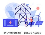 battery energy storage from...   Shutterstock .eps vector #1563971089