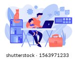 freelancer with child working... | Shutterstock .eps vector #1563971233