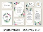 set of floral wedding... | Shutterstock .eps vector #1563989110