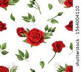 red rose flower and green... | Shutterstock .eps vector #1564004110