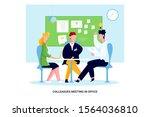 colleagues meeting in office.... | Shutterstock .eps vector #1564036810