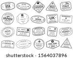 passport stamp set. visa stamps ... | Shutterstock .eps vector #1564037896
