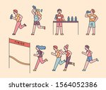 people doing marathon while...   Shutterstock .eps vector #1564052386