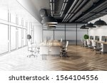 modern hand drawn meeting room...   Shutterstock . vector #1564104556