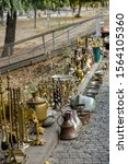 Small photo of Tbilisi, Republic of Georgia, Tbilisi Flea Market or Dry Bridge Bazaar, October 21, 2019, There is a mesmerising assortment of antiques, jewellery, paints, metals items and bric-a-brac on sale