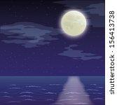 seascape landscape  dark night... | Shutterstock .eps vector #156413738