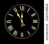 happy new year 2020. gold clock ... | Shutterstock .eps vector #1564148836