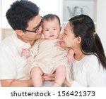 asian parents kissing six... | Shutterstock . vector #156421373