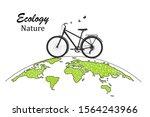bike on a globe. drawn black... | Shutterstock .eps vector #1564243966